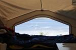 vue de la tente roulotte! Quel réveil